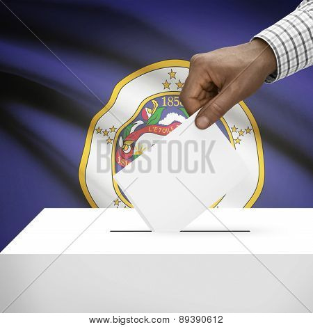 Voting Concept - Ballot Box With Us State Flag On Background - Minnesota