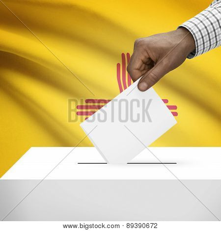 Voting Concept - Ballot Box With Us State Flag On Background - New Mexico