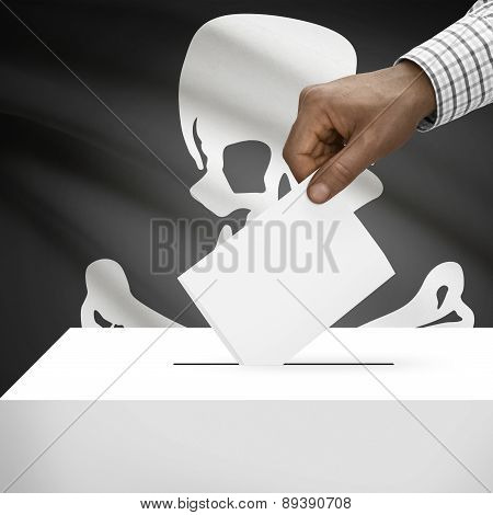 Voting Concept - Ballot Box With Flag On Background - Jolly Roger Flag