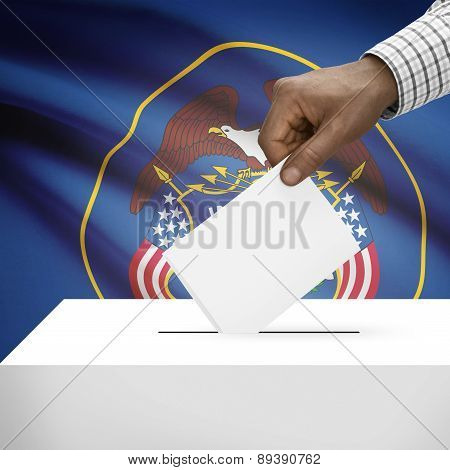 Voting Concept - Ballot Box With Us State Flag On Background - Utah