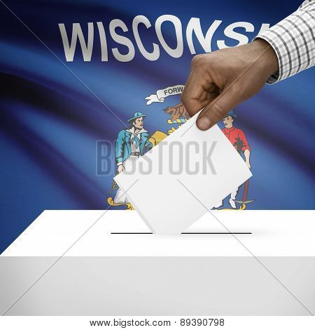 Voting Concept - Ballot Box With Us State Flag On Background - Wisconsin