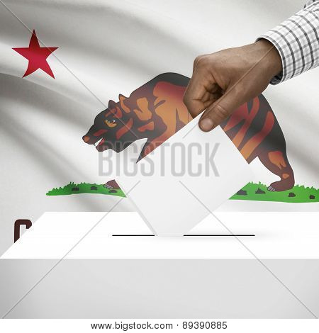 Voting Concept - Ballot Box With Us State Flag On Background - California