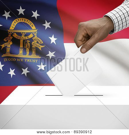 Voting Concept - Ballot Box With Us State Flag On Background - Georgia