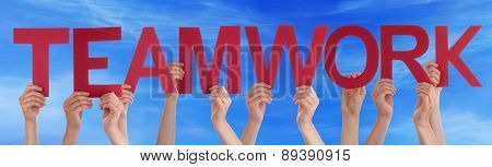 Hands Holding Red Straight Word Teamwork Blue Sky
