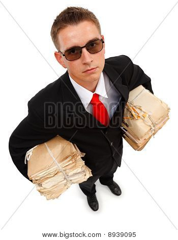 Businessman With Lots Of Paperwork