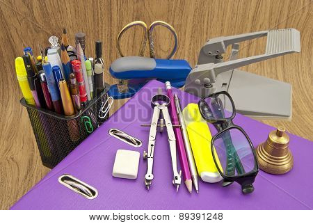 A Set Of Stationery Items For Office.