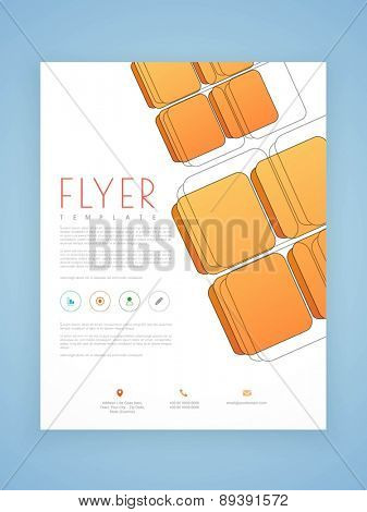 Professional flyer, template or brochure design with blocks for corporate sector.