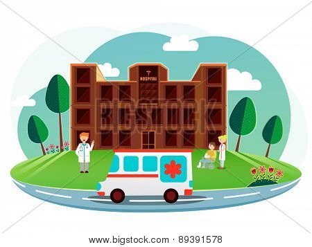 Front side view of a brown hospital with cartoon illustration of a doctor, nurse, patient and ambulance on nature background.
