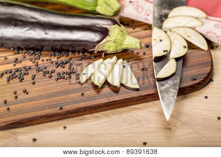 Still Life With Cutted Eggplant Slices, Kitchen Knife