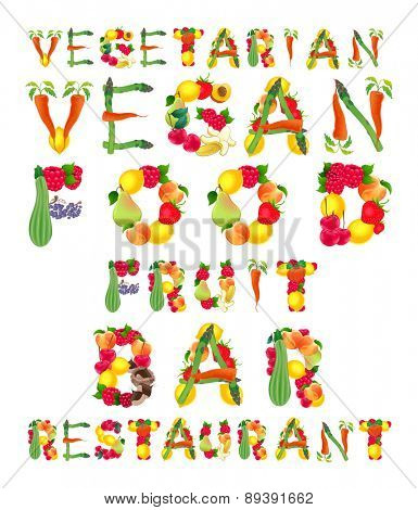 Words in vegan style. Vector isolated elements.