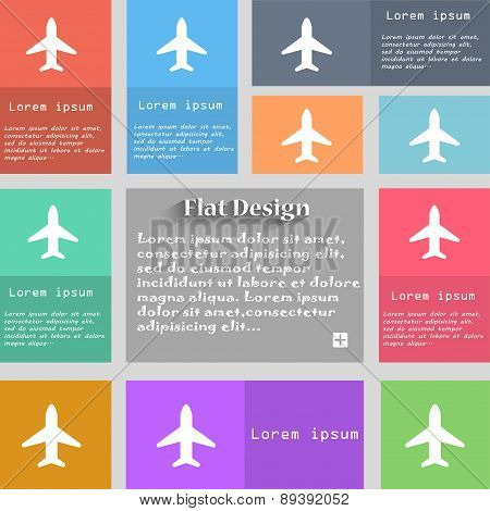 Airplane, Plane, Travel, Flight Icon Sign. Set Of Multicolored Buttons. Metro Style With Space For T