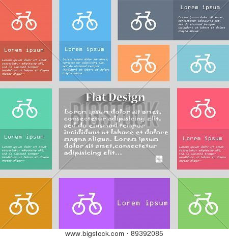 Bicycle Icon Sign. Set Of Multicolored Buttons. Metro Style With Space For Text. The Long Shadow Vec