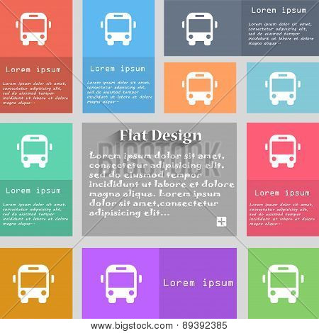 Bus Icon Sign. Set Of Multicolored Buttons. Metro Style With Space For Text. The Long Shadow Vector