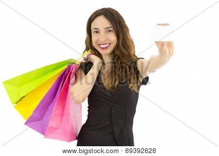 Shopping Woman Holding A Sign Card, Focus On The Card