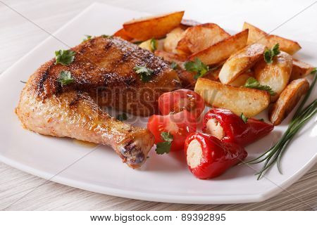 Grilled Chicken Leg, Roasted Potatoes And Vegetables, Horizontal