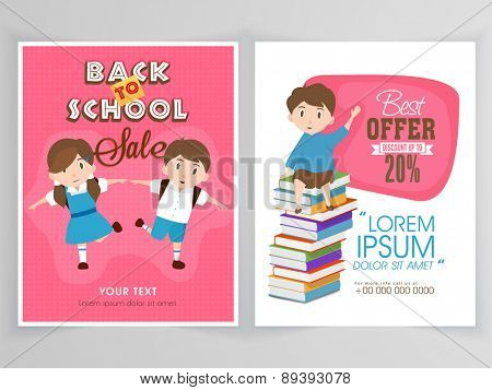 Sale flyer, template or banner design for Back to School with discount offer on educational stationary.