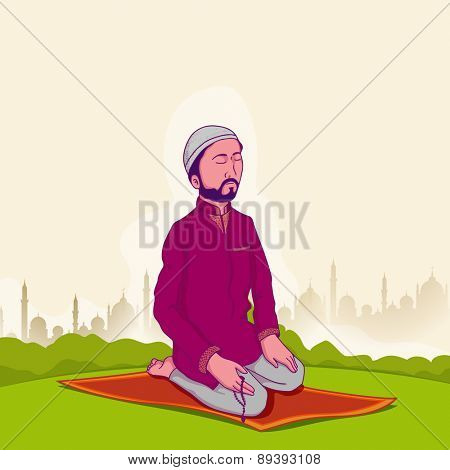 Young Muslim man holding rosary and praying (reading Namaz, Islamic Prayer) on Mosque silhouette background for holy month Ramadan Kareem celebration.