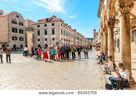 Tourists visit the Old Town of Dubrovnik a UNESCO's World Heritage Site