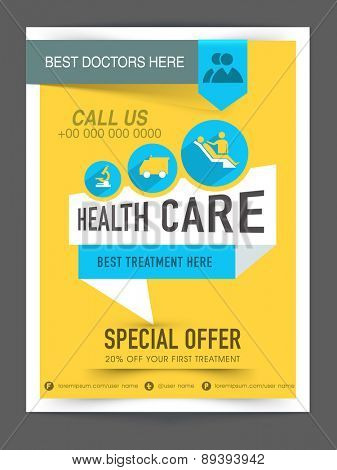 Stylish Health Care flyer, poster or banner design with medical elements.