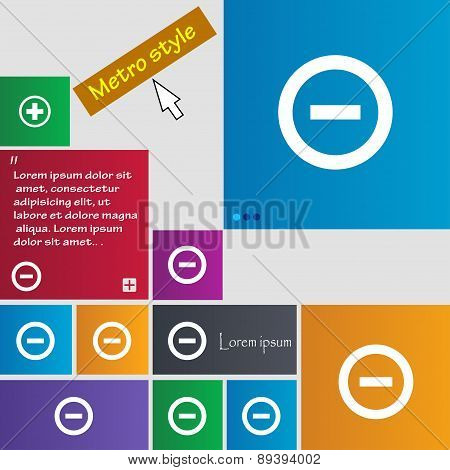 Minus, Negative, Zoom, Stop Icon Sign. Metro Style Buttons. Modern Interface Website Buttons With Cu