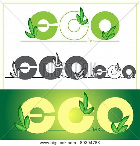 Set green eco logos on colored background. Vector illustration.