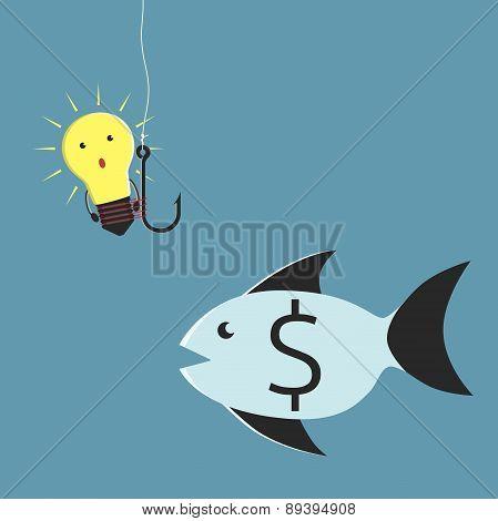 Lightbulb Character And Fish