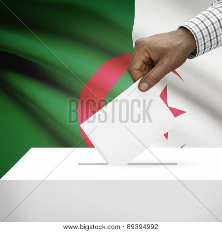 Ballot Box With National Flag On Background - Algeria