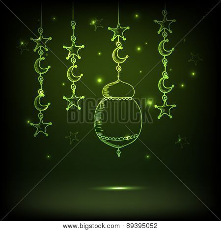 Green Arabic lantern with crescent moons and stars on shiny background for holy month of Muslim community, Ramadan Kareem celebration.