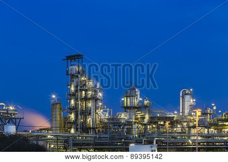 Oil Refinery Detail At Night