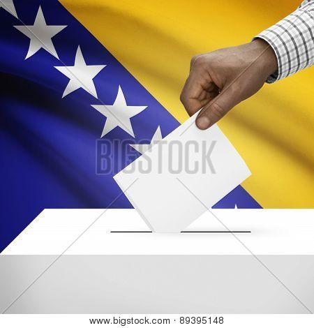 Ballot Box With National Flag On Background - Bosnia And Herzegovina