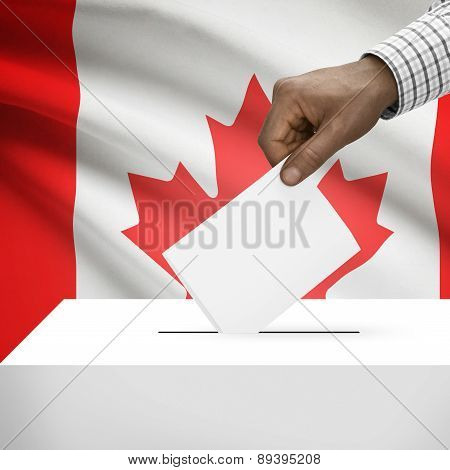 Ballot Box With National Flag On Background - Canada