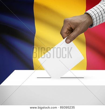 Ballot Box With National Flag On Background - Chad