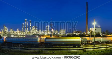 Chemical Plant Panorama At Night