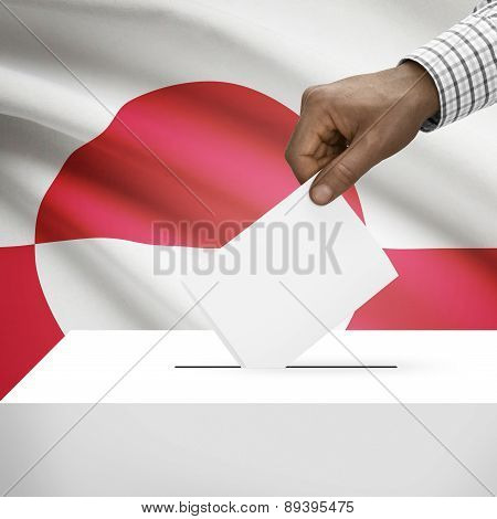 Ballot Box With National Flag On Background - Greenland