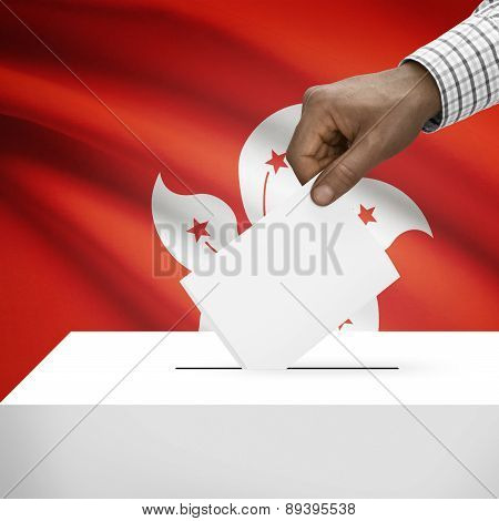 Ballot Box With National Flag On Background - Hong Kong