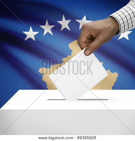 Ballot Box With National Flag On Background - Kosovo