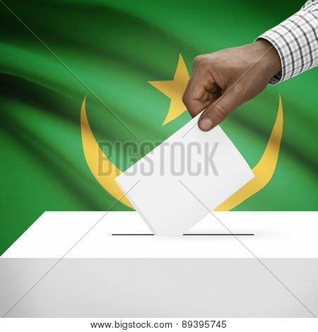Ballot Box With National Flag On Background - Mauritania
