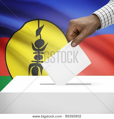 Ballot Box With National Flag On Background - New Caledonia