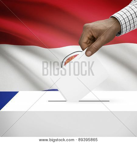 Ballot Box With National Flag On Background - Paraguay