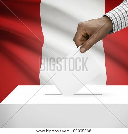 Ballot Box With National Flag On Background - Peru