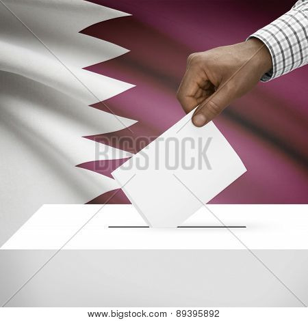 Ballot Box With National Flag On Background - Qatar