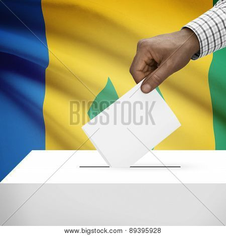 Ballot Box With National Flag On Background - Saint Vincent And The Grenadines