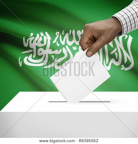 Ballot Box With National Flag On Background - Saudi Arabia