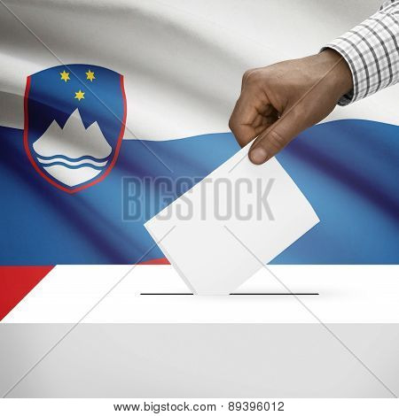 Ballot Box With National Flag On Background - Slovenia