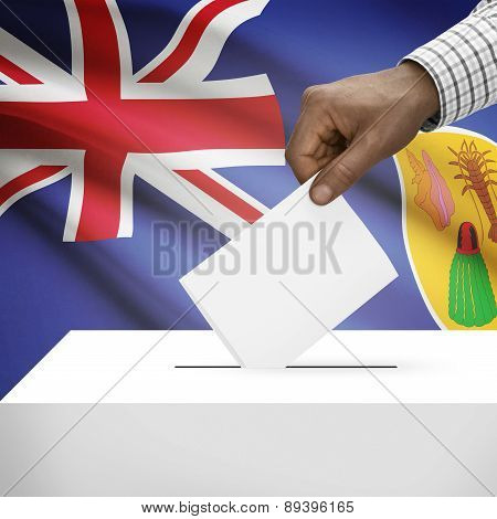 Ballot Box With National Flag On Background - Turks And Caicos Islands
