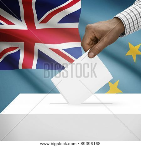 Ballot Box With National Flag On Background - Tuvalu