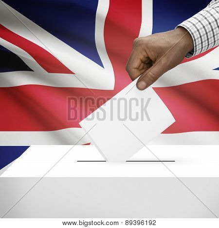Ballot Box With National Flag On Background - United Kingdom Of Great Britain And Northern Ireland