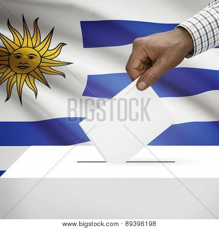 Ballot Box With National Flag On Background - Uruguay