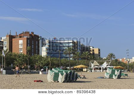 The Beach Of Calella Evening