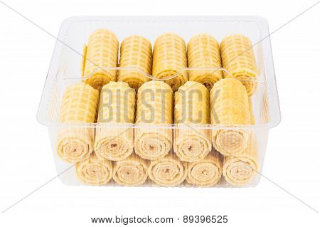 Wafer Rolls In Transparent Plastic Box